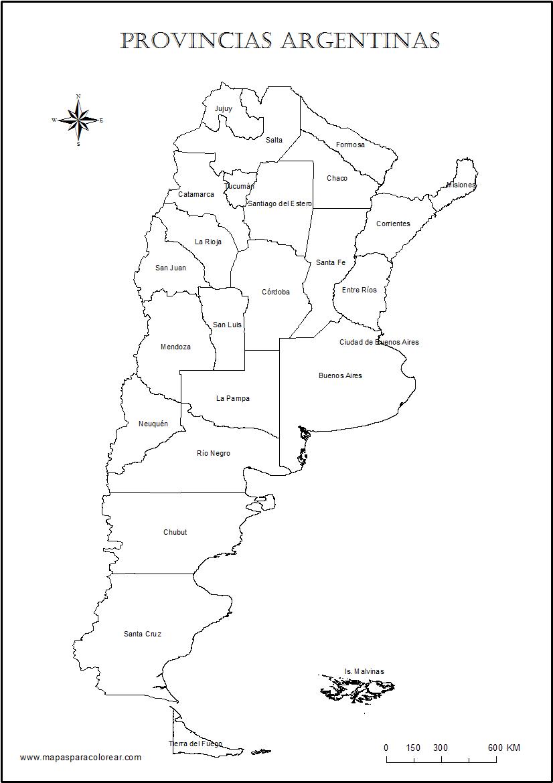 Mapas de Argentina para colorear