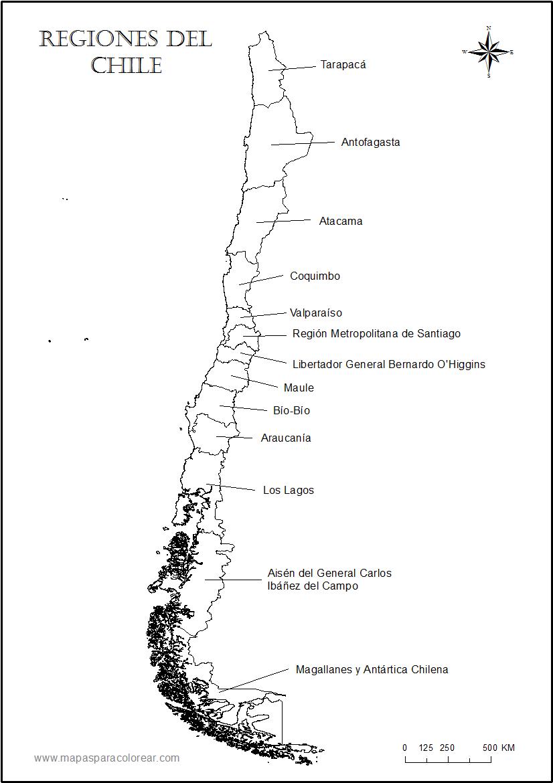 Mapa de regiones del Chile con nombres para colorear.