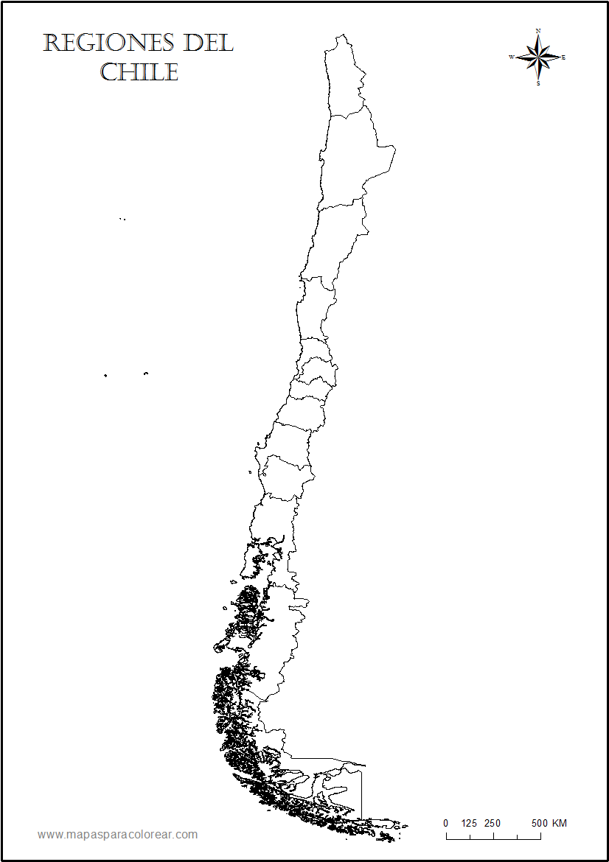 Mapas de Chile para colorear