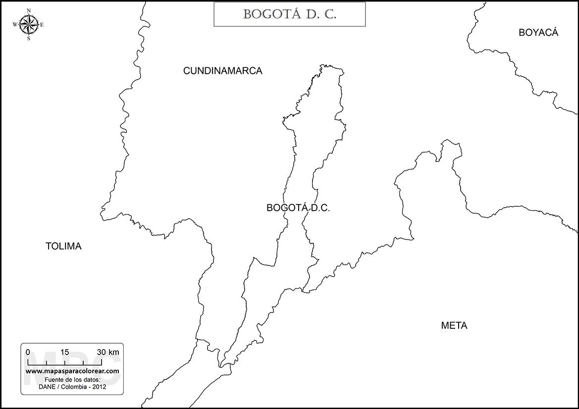 Mapas de Bogotá para colorear