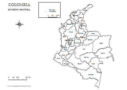 Mapas de Colombia para colorear