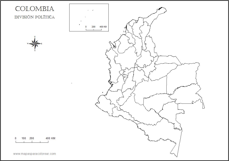 Mapa Colombia Para  Pletar Con Nombres Para Colorear