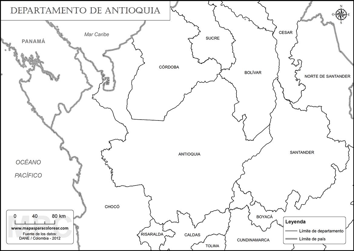 Mapas del departamento de Antioquia para colorear