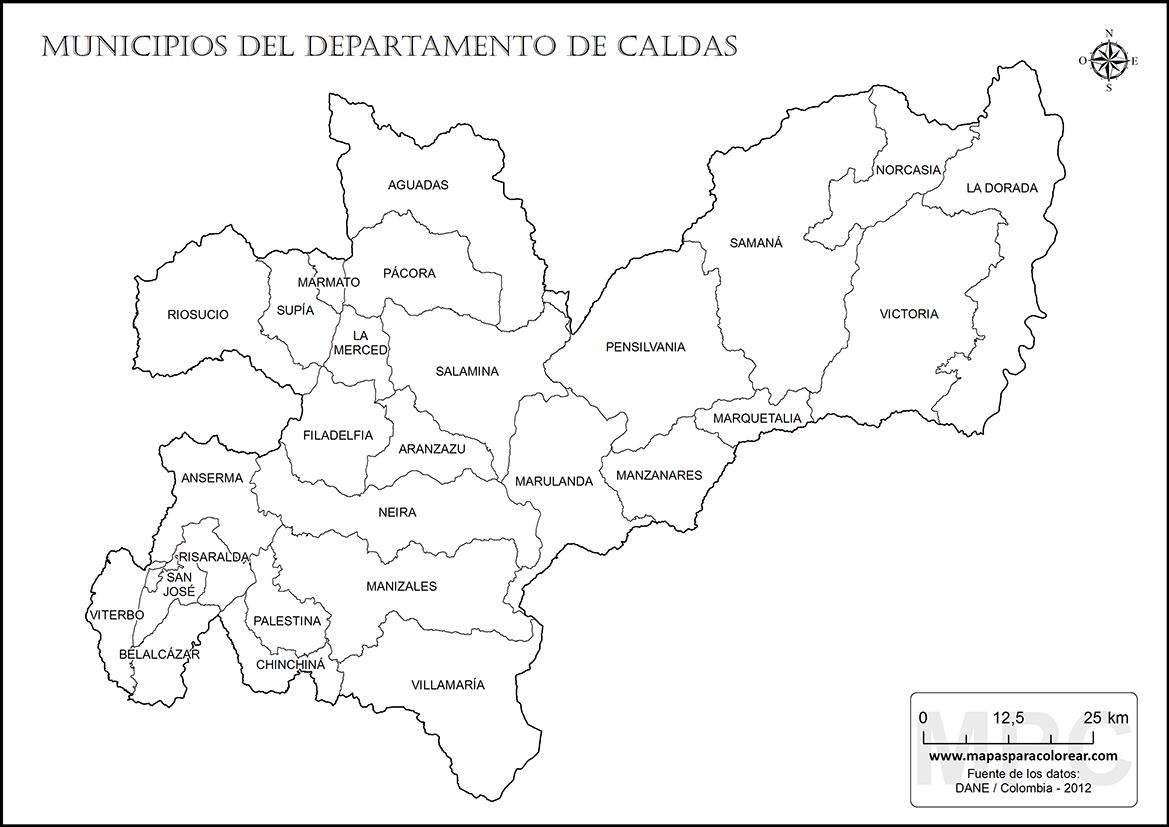 Mapas del departamento de Caldas para colorear