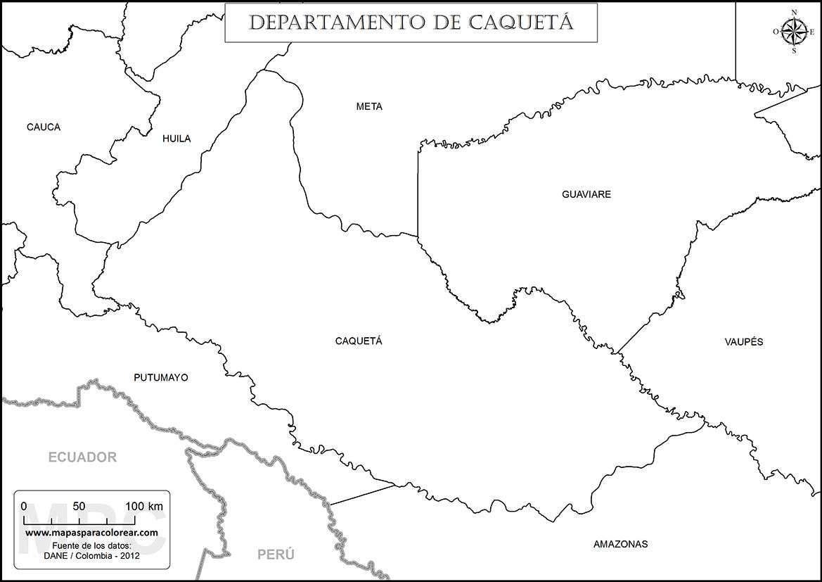 Mapas del departamento de Caquetá para colorear