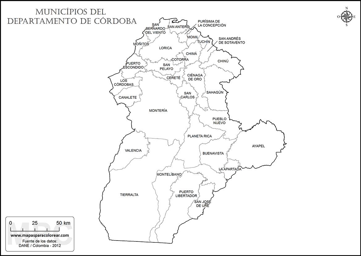 Mapas del departamento de Córdoba para colorear