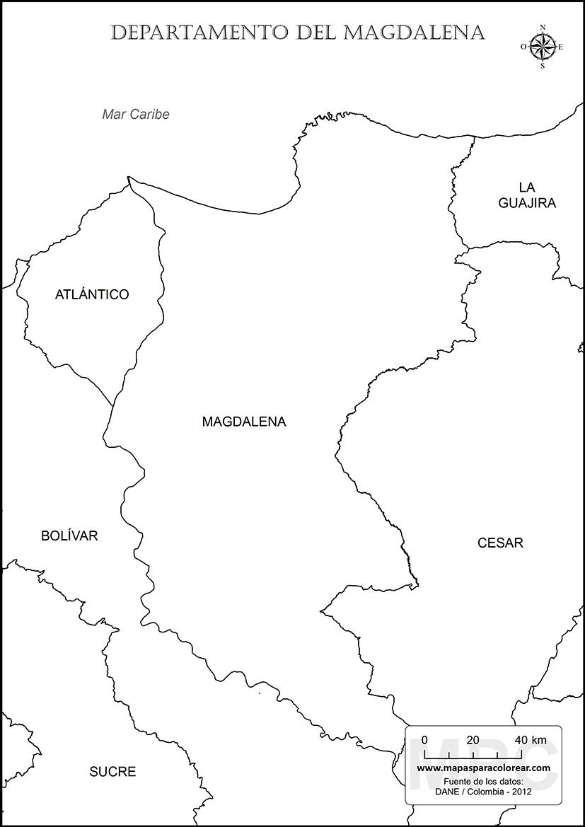 mapas del departamento del magdalena para colorear