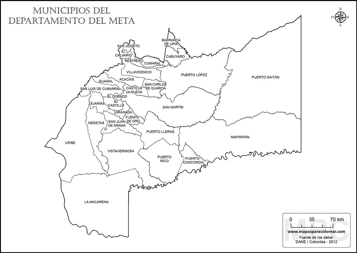 Mapas del departamento del Meta para colorear