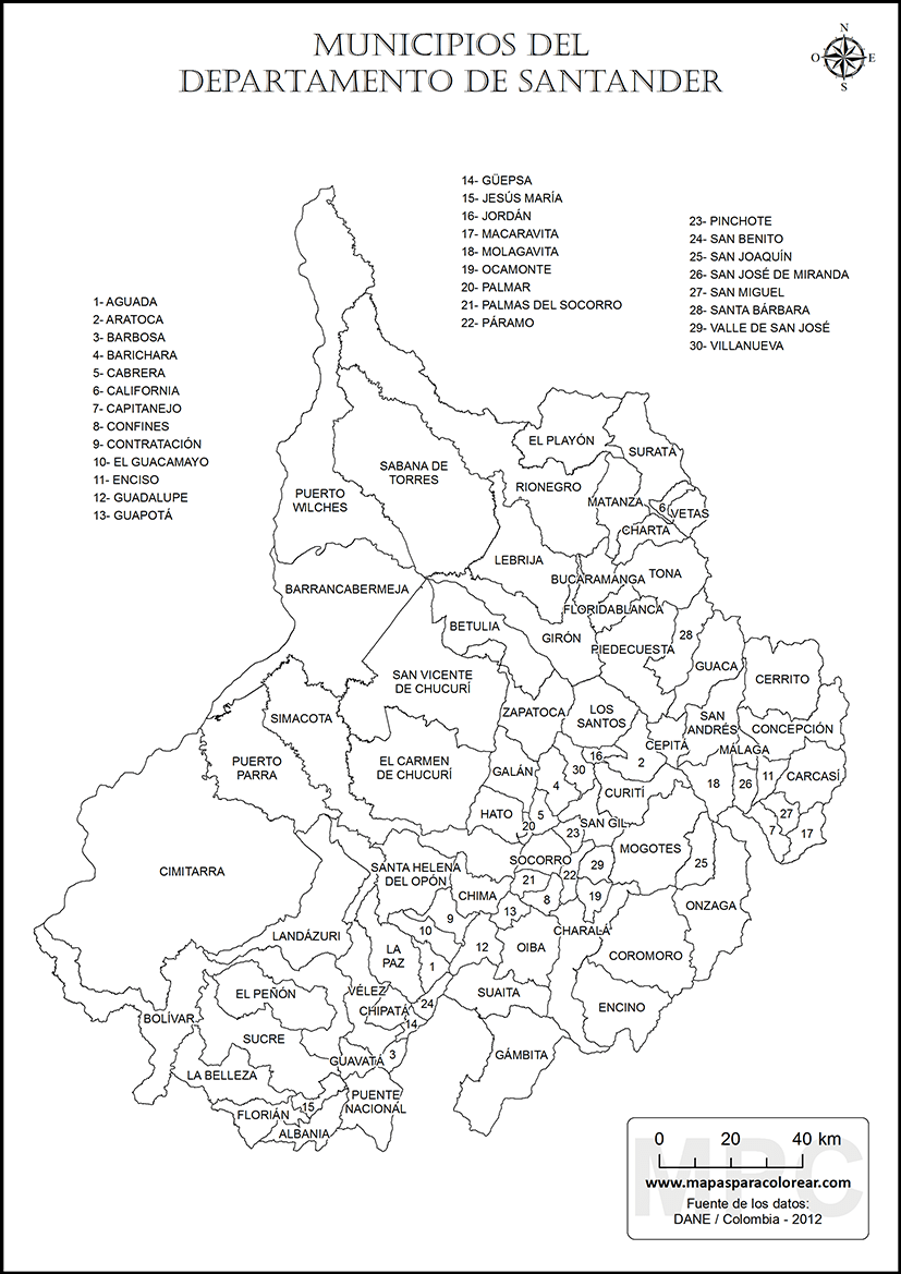 Mapas del departamento de Santander para colorear