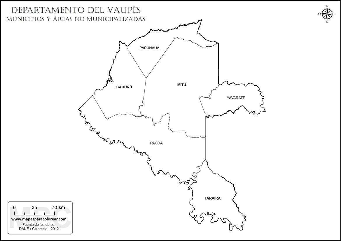 mapas del departamento del vaup u00e9s para colorear