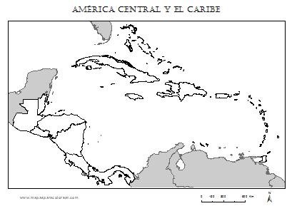 Mapa En Blanco De America Central Y Caribe Para Completar Con Nombres De Los Paises Y