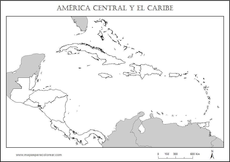 Central Y Caribe Para  Pletar Con Nombres De Los Pa  Ses Y Colorear