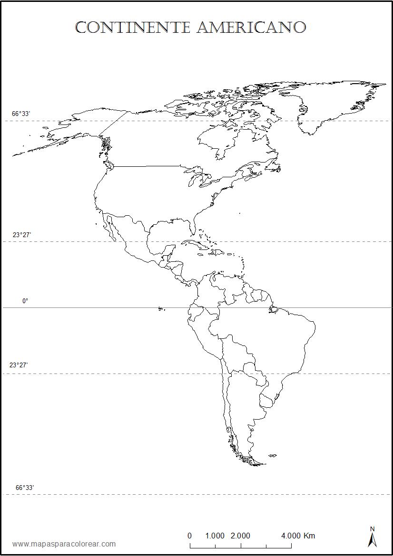 Mapas de Américas (norte, sur, central) para colorear