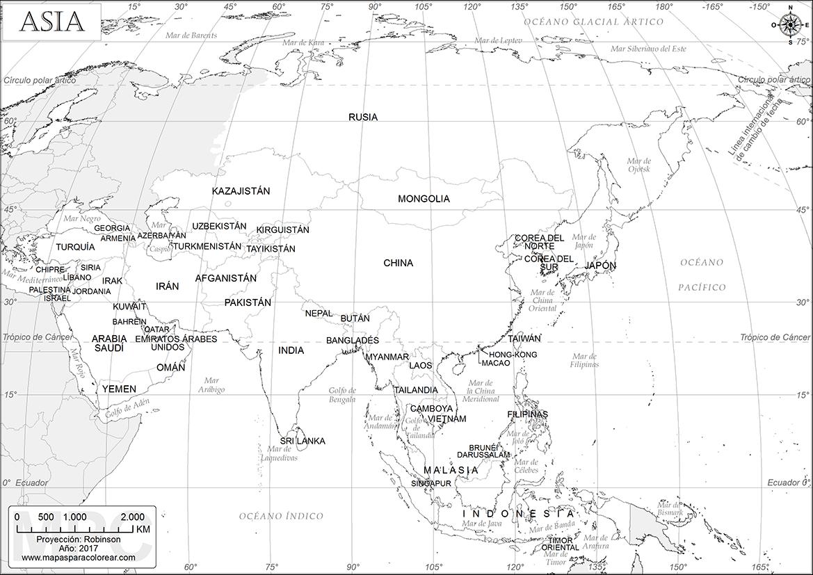Mapa Politico De Asia Para Imprimir.Mapas De Asia Para Colorear