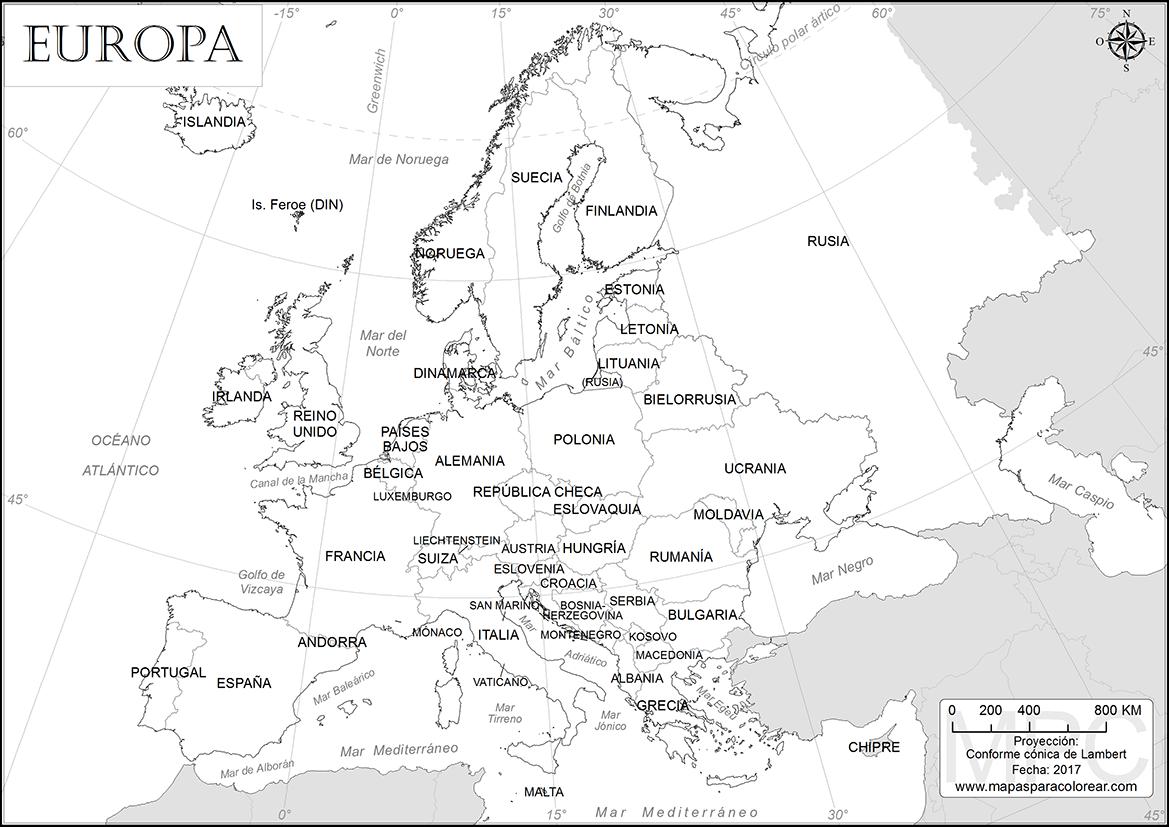Mapas De Europa Para Colorear