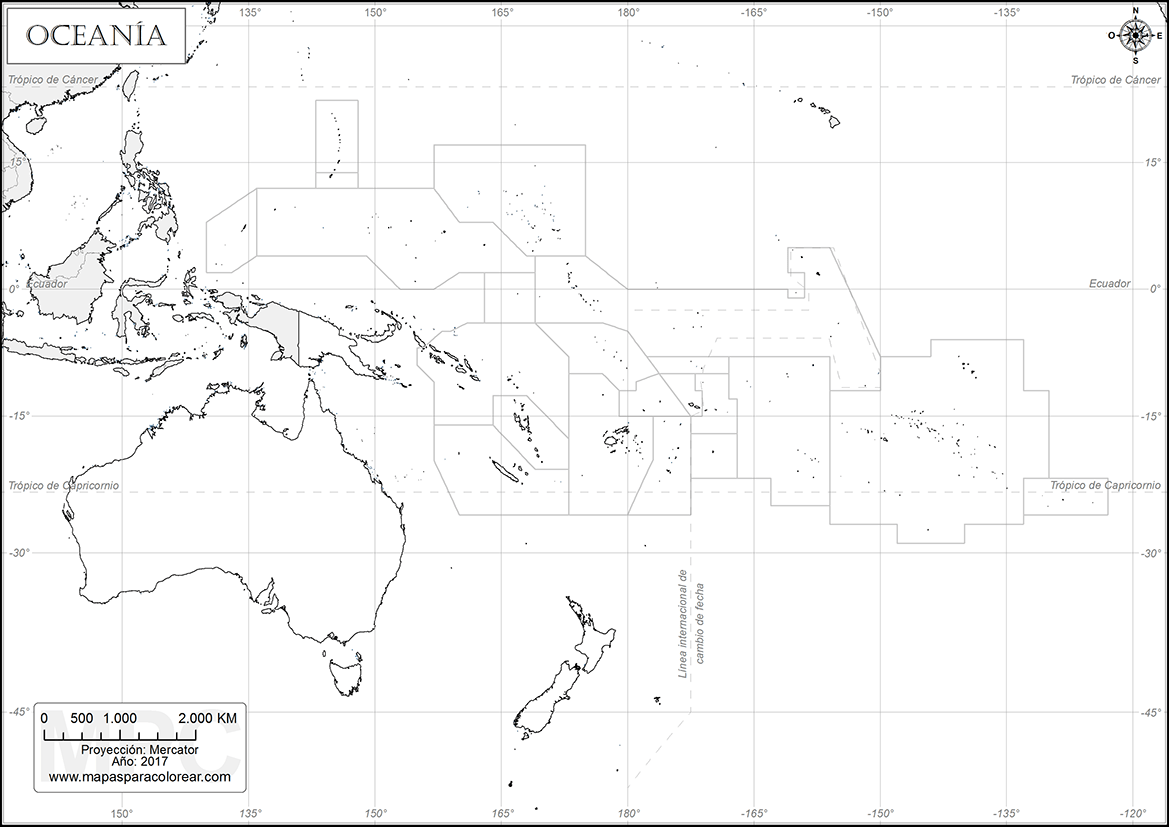 Mapas de Oceana para colorear