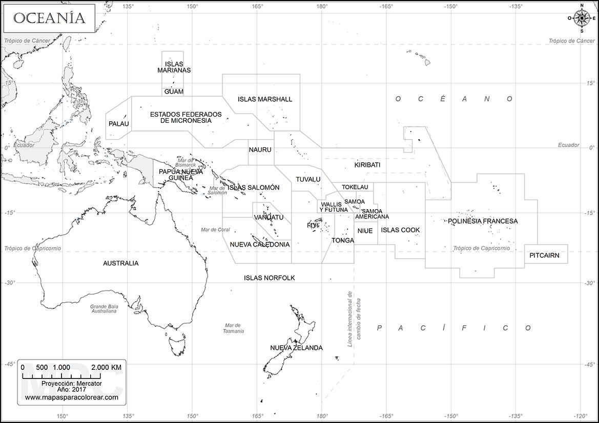 Mapa Oceania Fisico Mudo.Mapas De Oceania Para Colorear