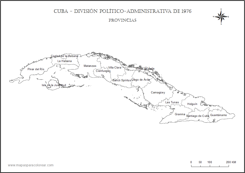 Mapas de Cuba para colorear