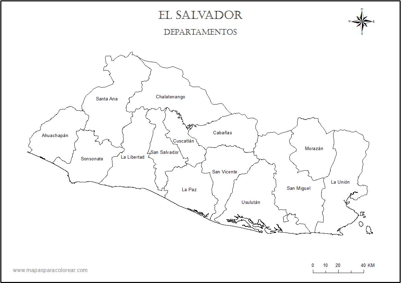 Mapas De El Salvador Para Colorear