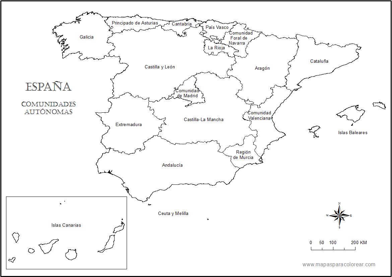 Mapa Mudo Comunidades Autonomas España Para Imprimir.Mapas De Espana Para Colorear