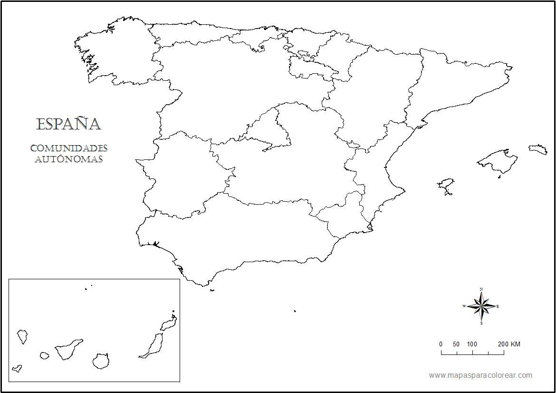 Mapa De España Colorear.Mapas De Espana Para Colorear