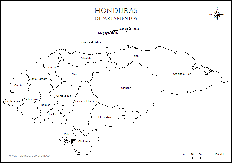Mapas de Honduras para colorear