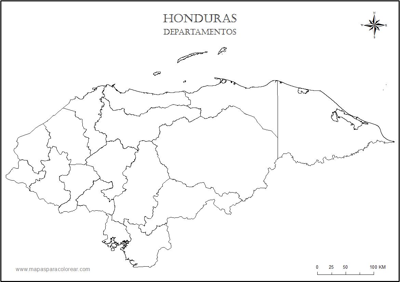 Mapas de Honduras para colorear MAPA DE HONDURAS