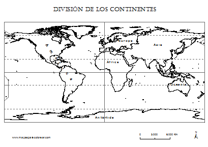 Mapamundi de los continentes para colorear - Imagui