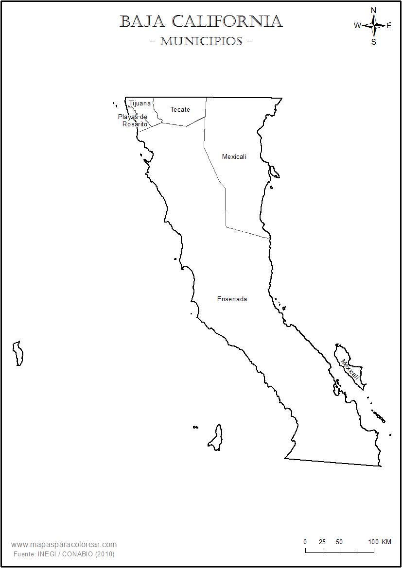 Mapas de Baja California para colorear