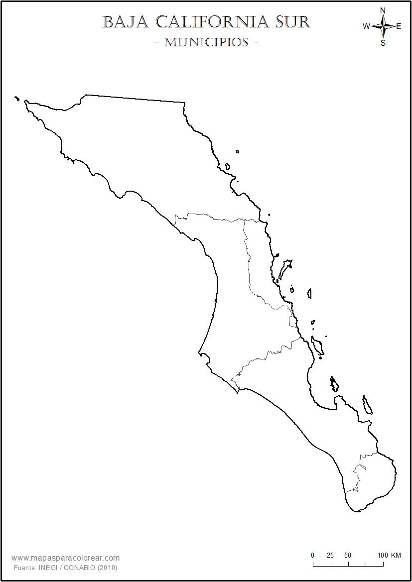 Mapas De Baja California Sur Para Colorear - Mapa de california
