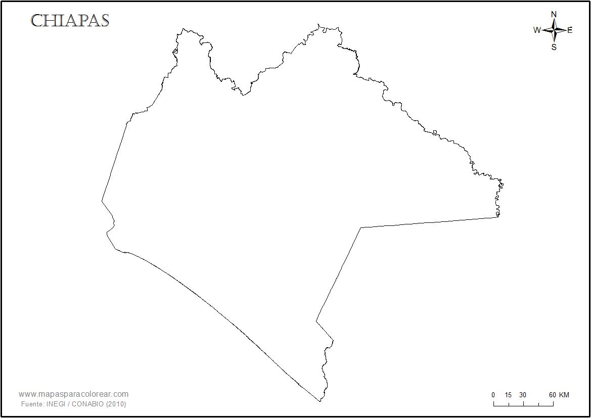 Mapas de Chiapas para colorear