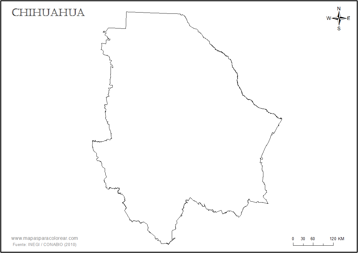 Mapas de Chihuahua para colorear
