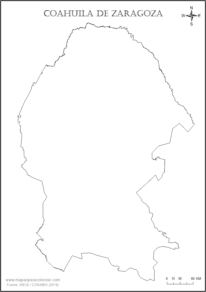 Mapas De Coahuila De Zaragoza Para Colorear