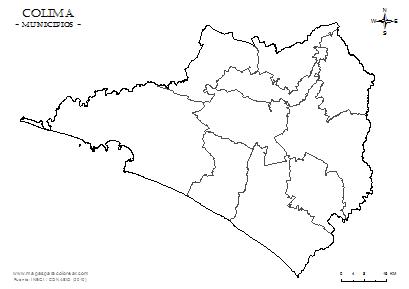 Mapas de Colima para colorear