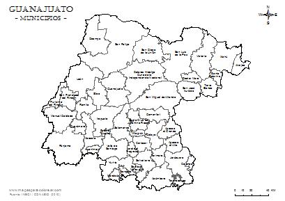 Mapas de Guanajuato para colorear