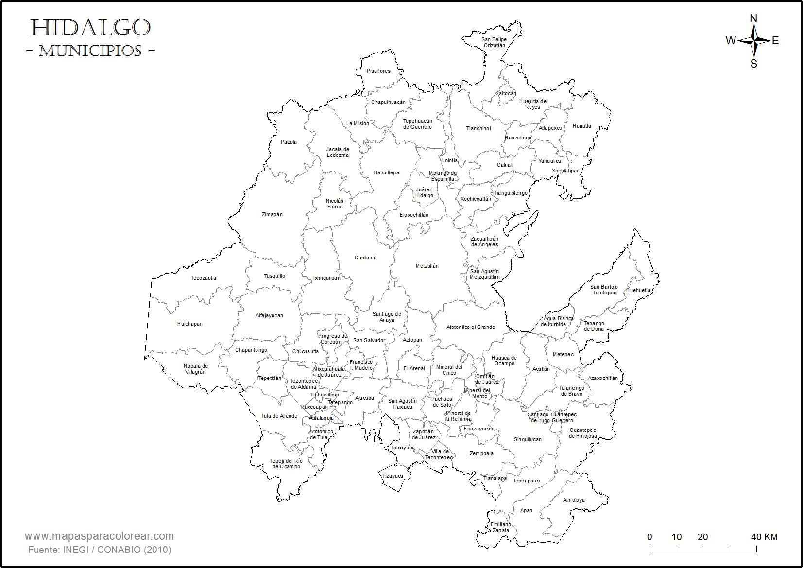 Mapas de Hidalgo para colorear