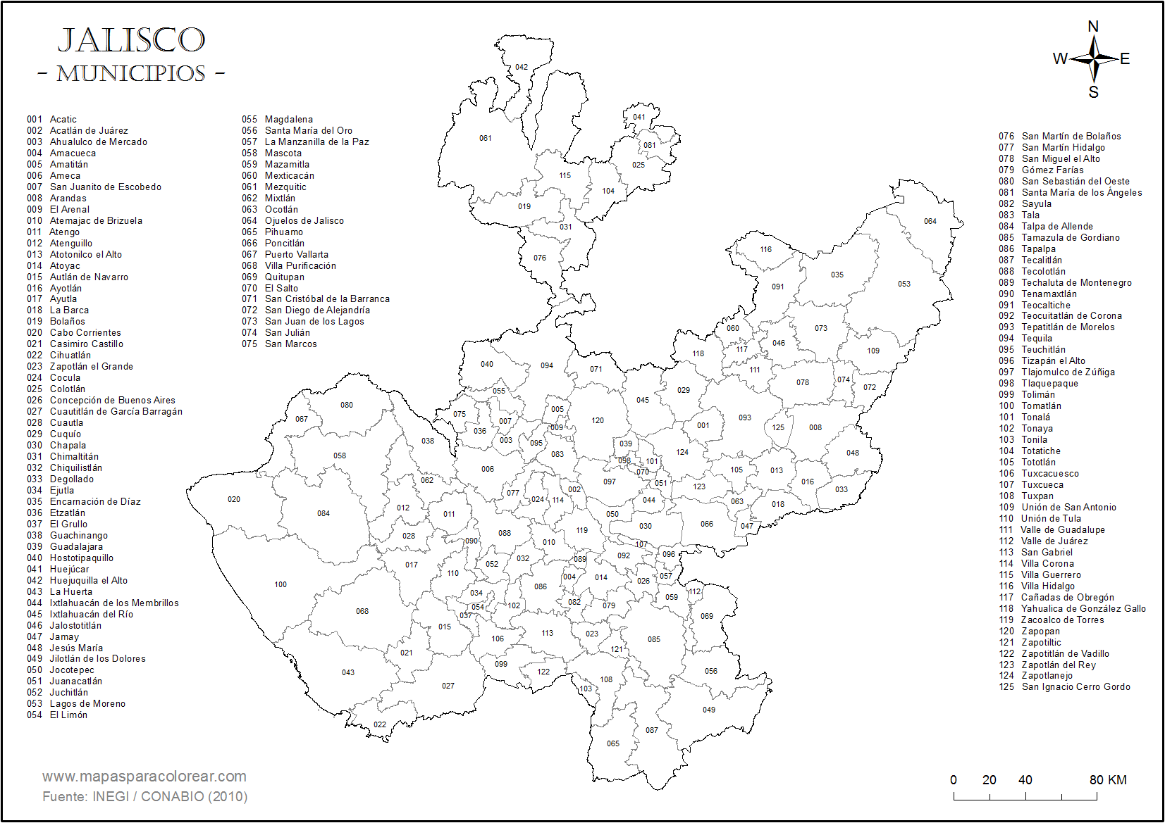 Mapas De Jalisco Para Colorear