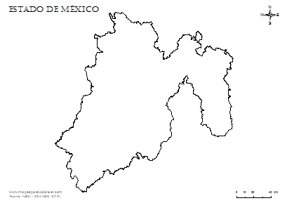 Estados De Mexico Mapa.Mapas Del Estado De Mexico Para Colorear