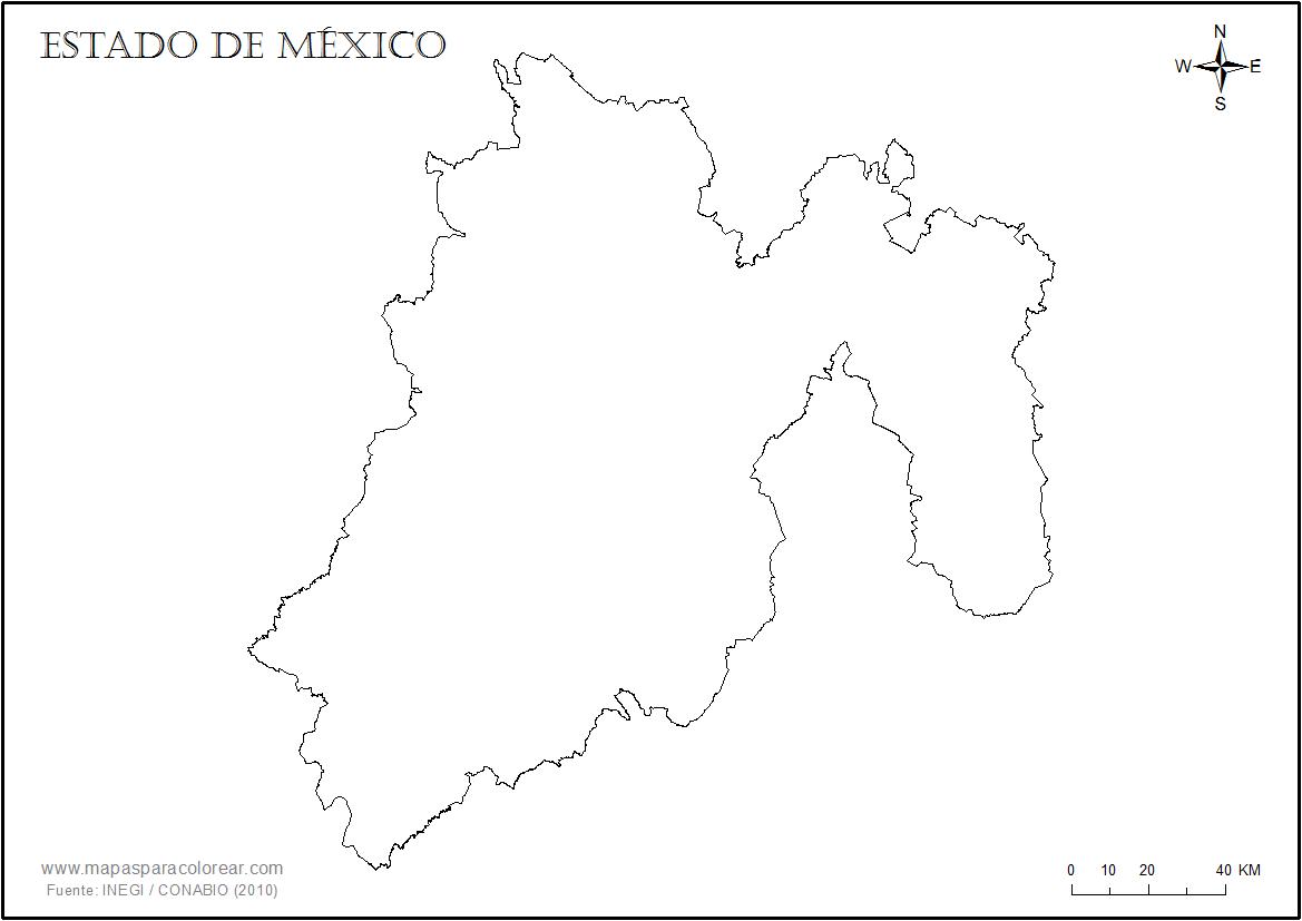 Mapas del estado de México para colorear