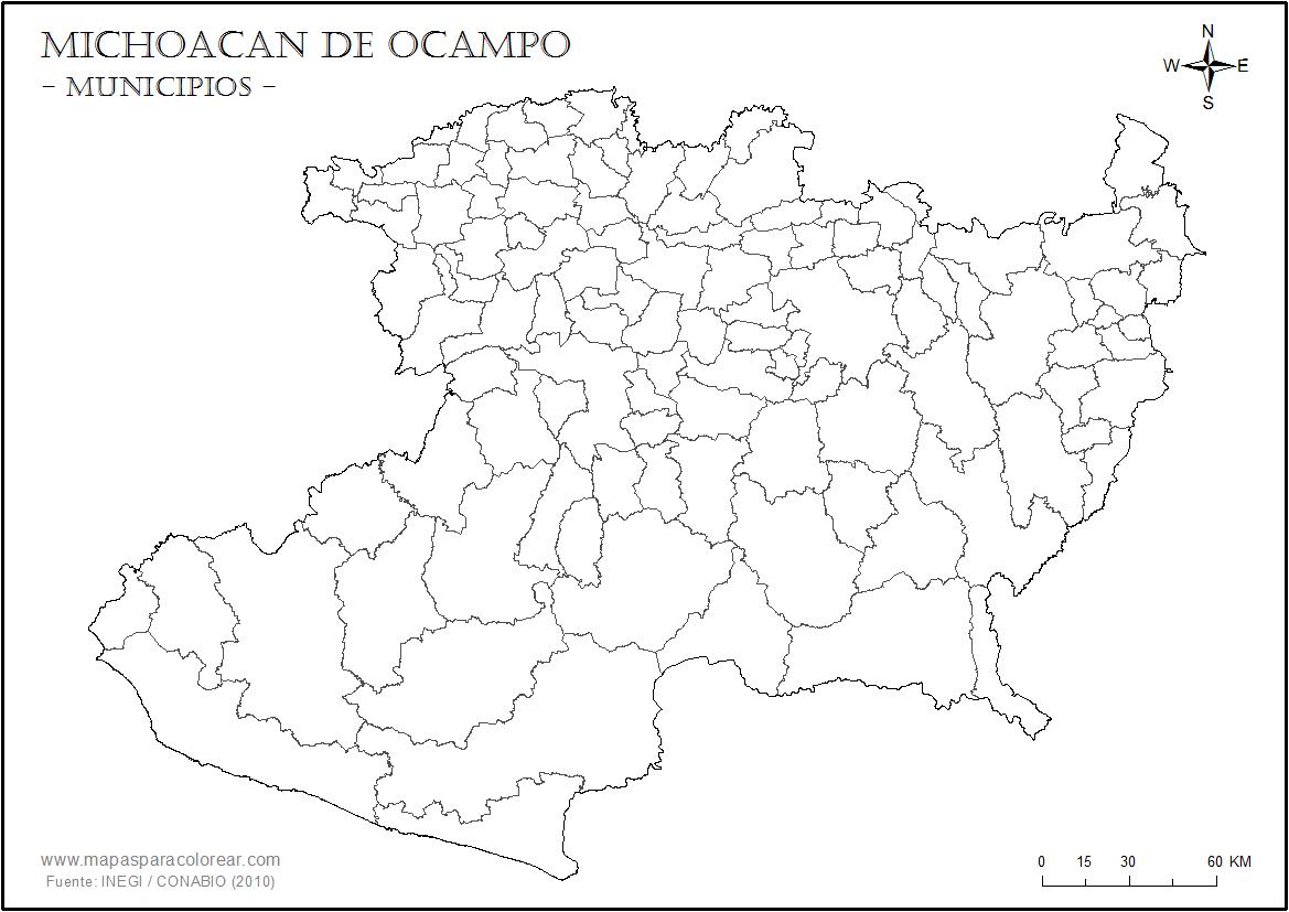 Mapas de Michoacán de Ocampo para colorear