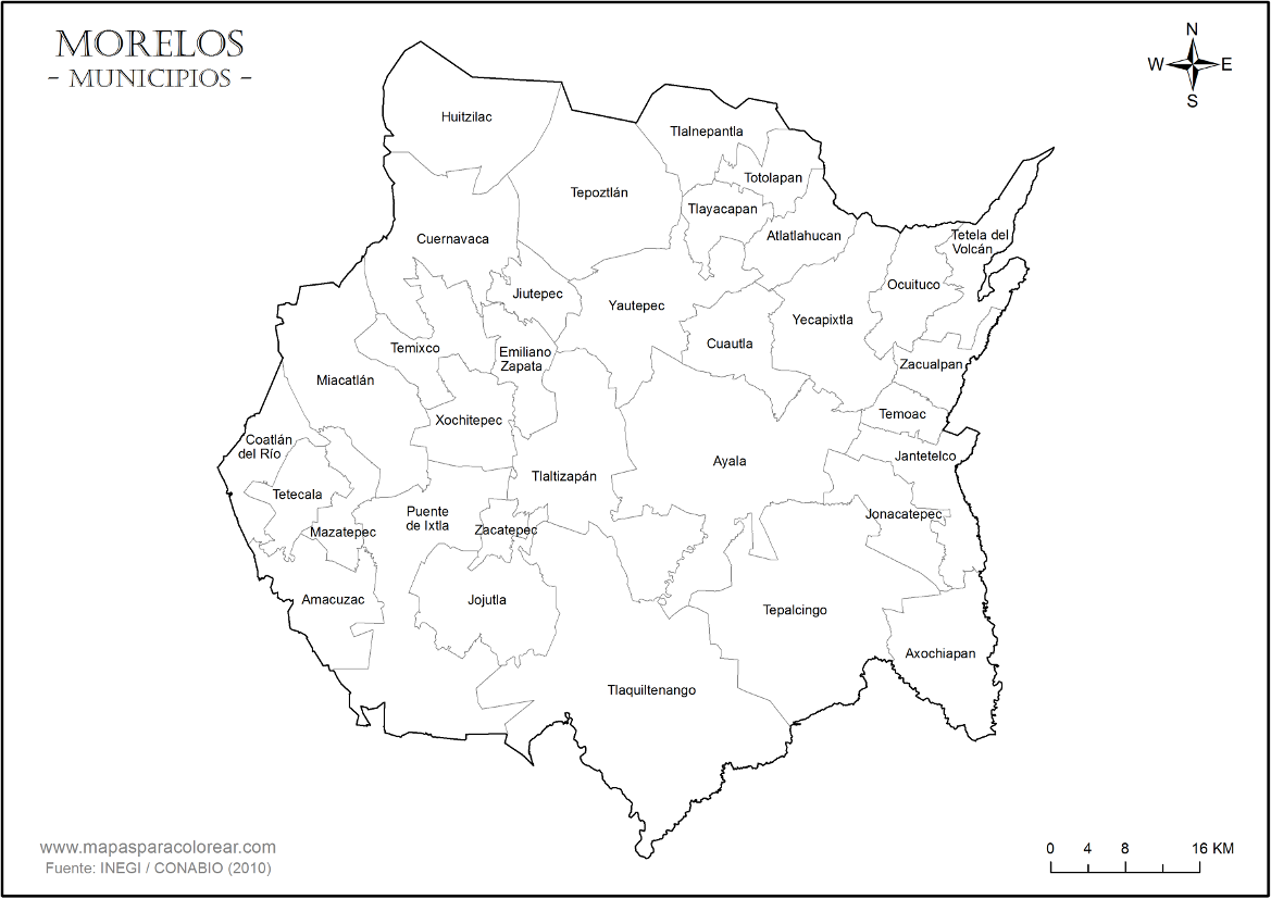 Mapas De Morelos Para Colorear