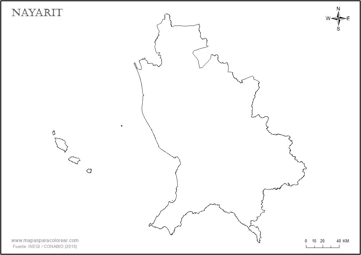 Mapas de Nayarit para colorear