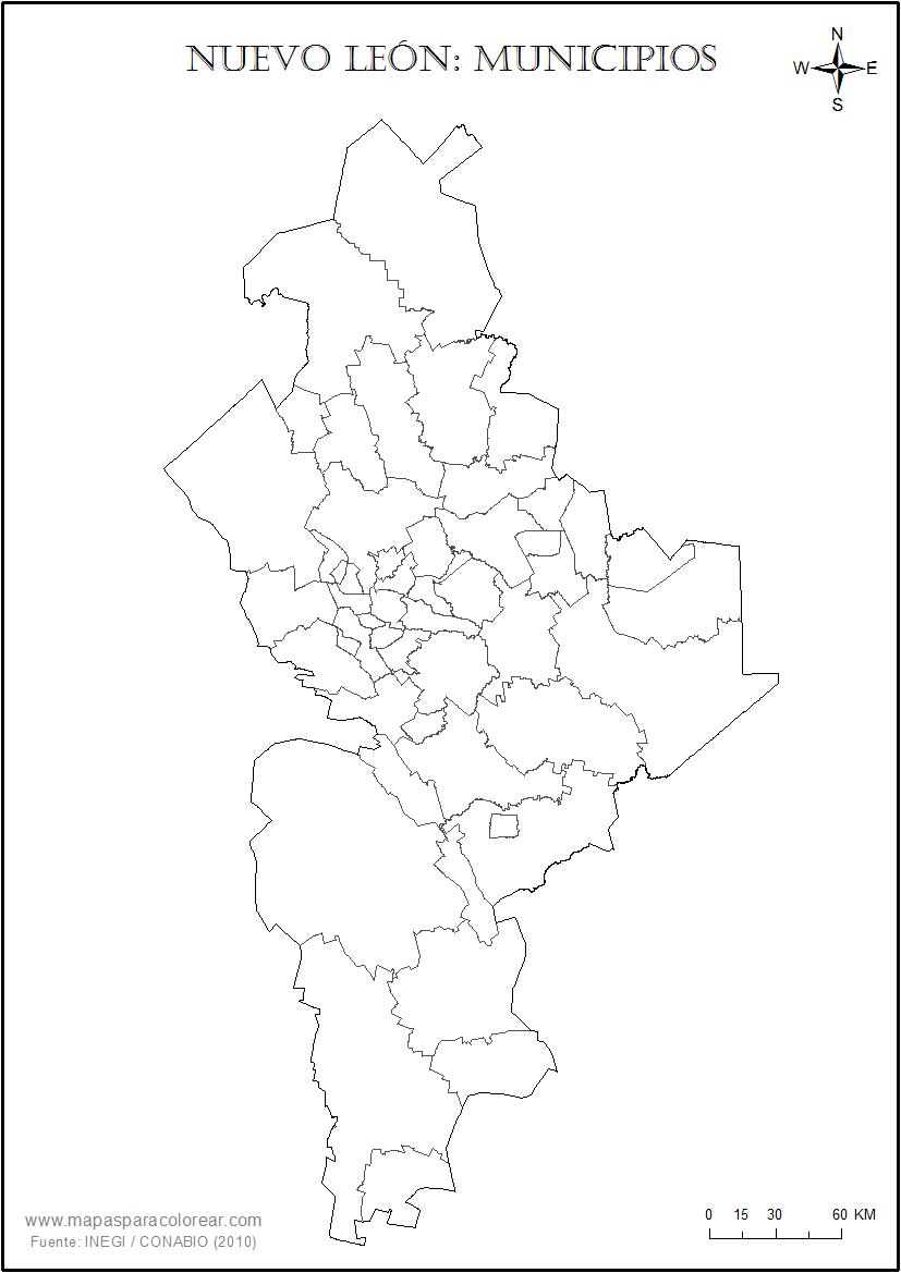 Mapas de Nuevo Len para colorear