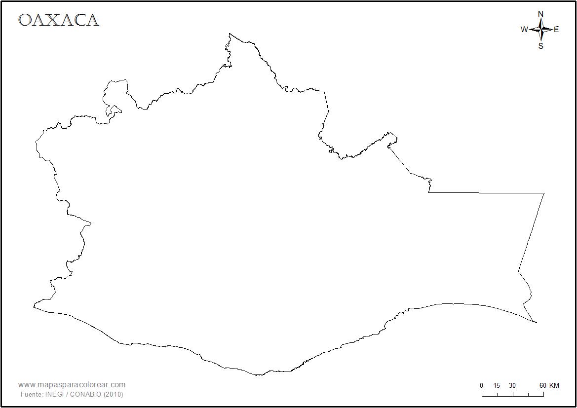 Mapas de Oaxaca para colorear