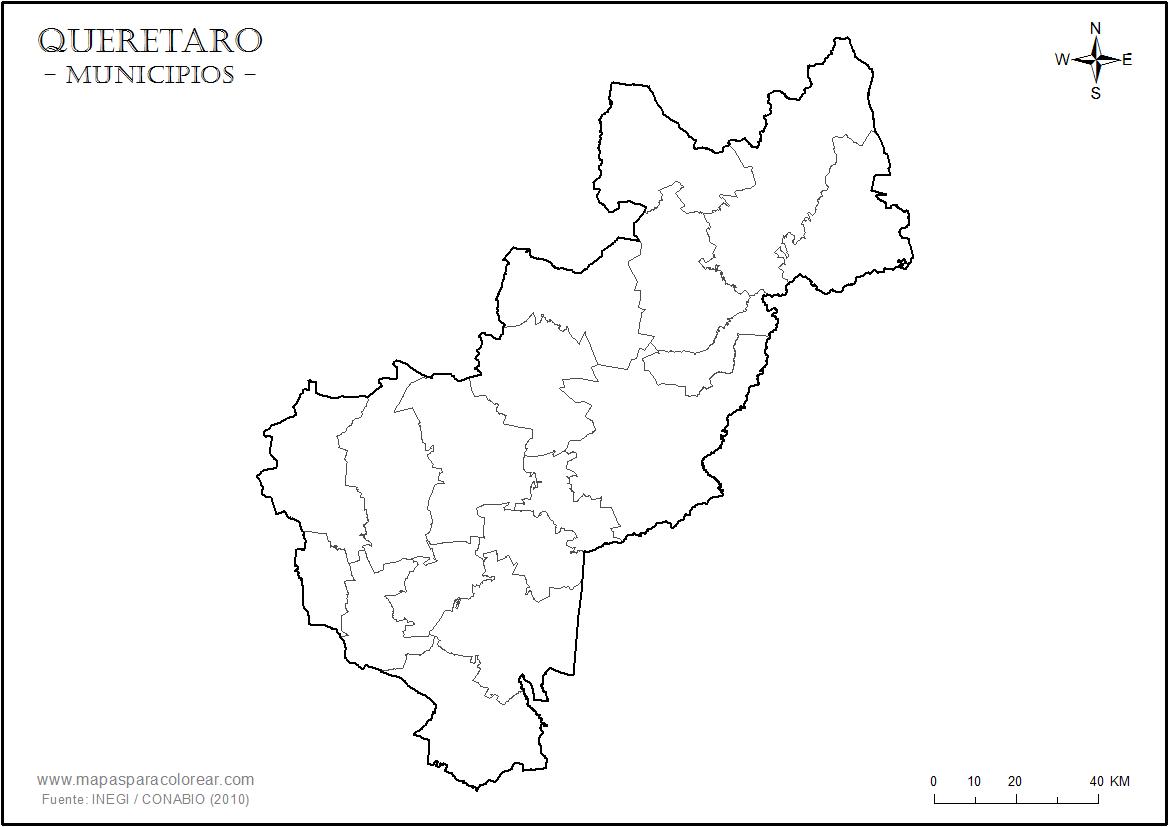 Mapas de Quertaro para colorear