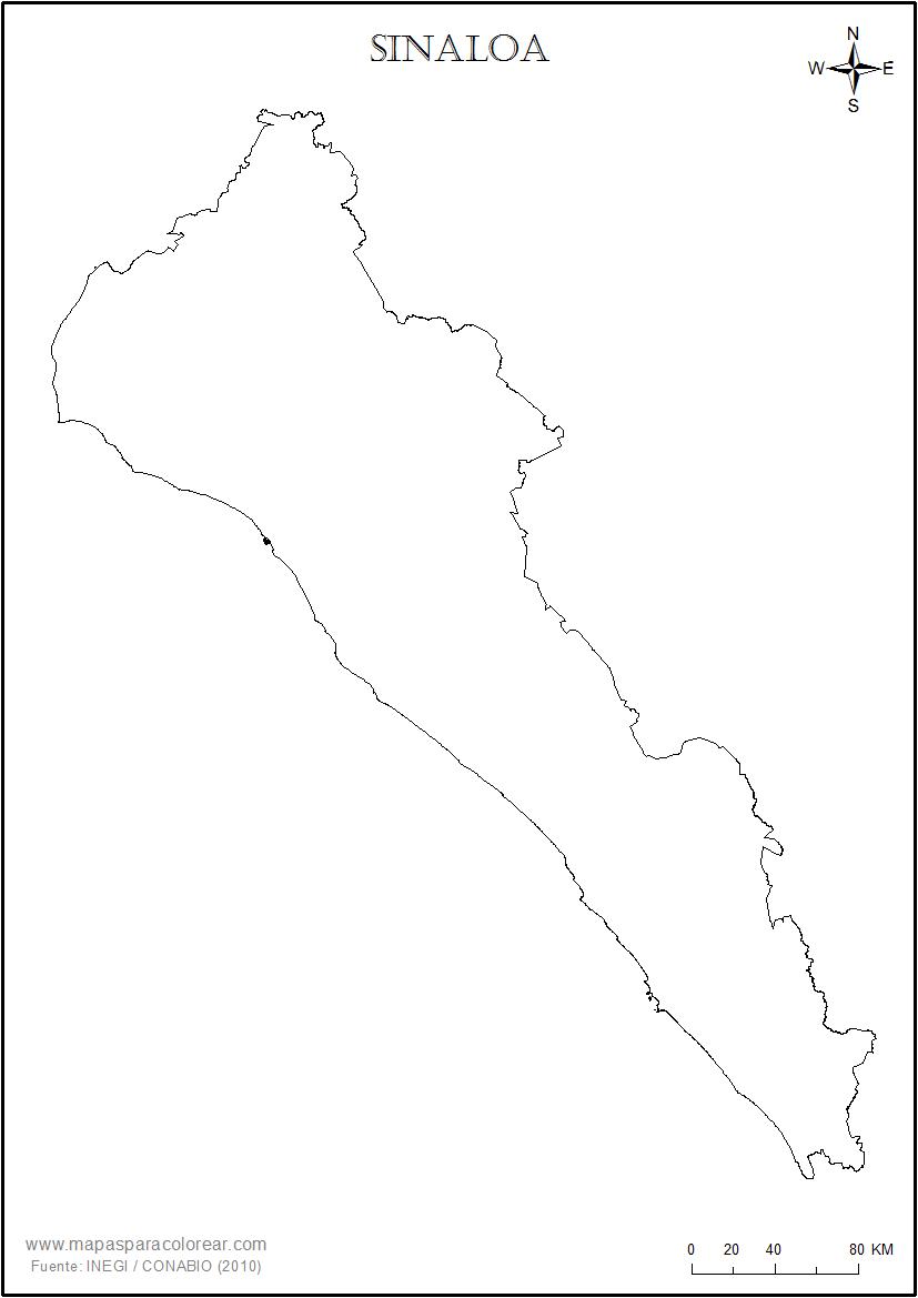Mapas de Sinaloa para colorear