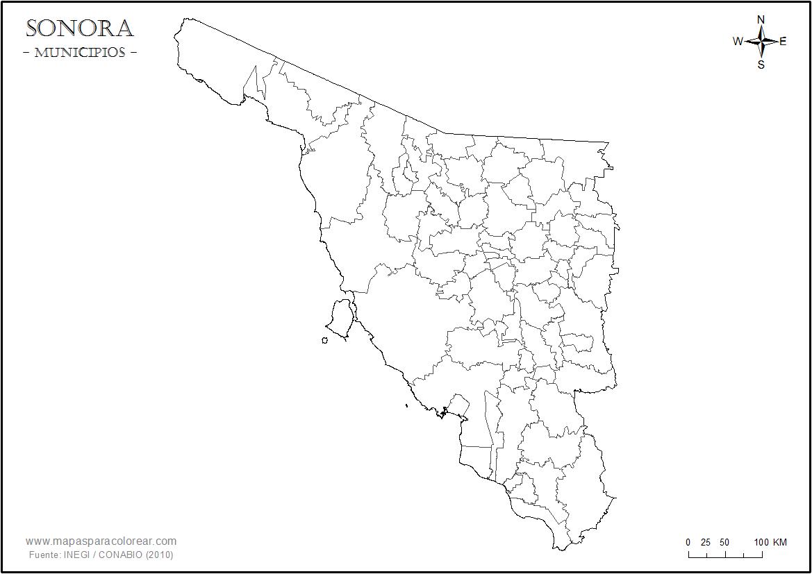 Mapas De Sonora Para Colorear