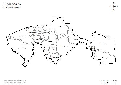 Mapas de Tabasco para colorear