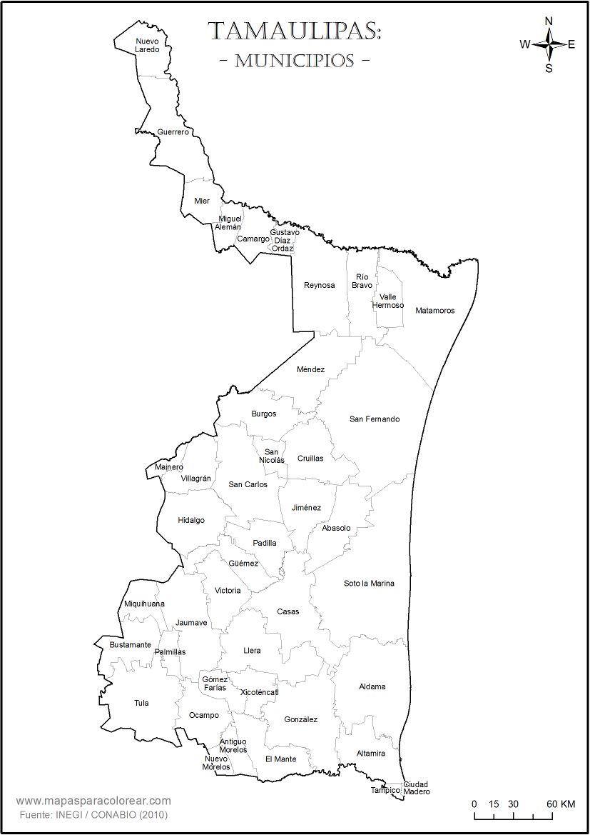 Mapas de Tamaulipas para colorear