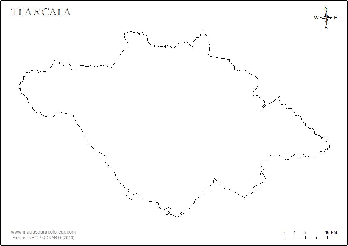 Mapas de Tlaxcala para colorear